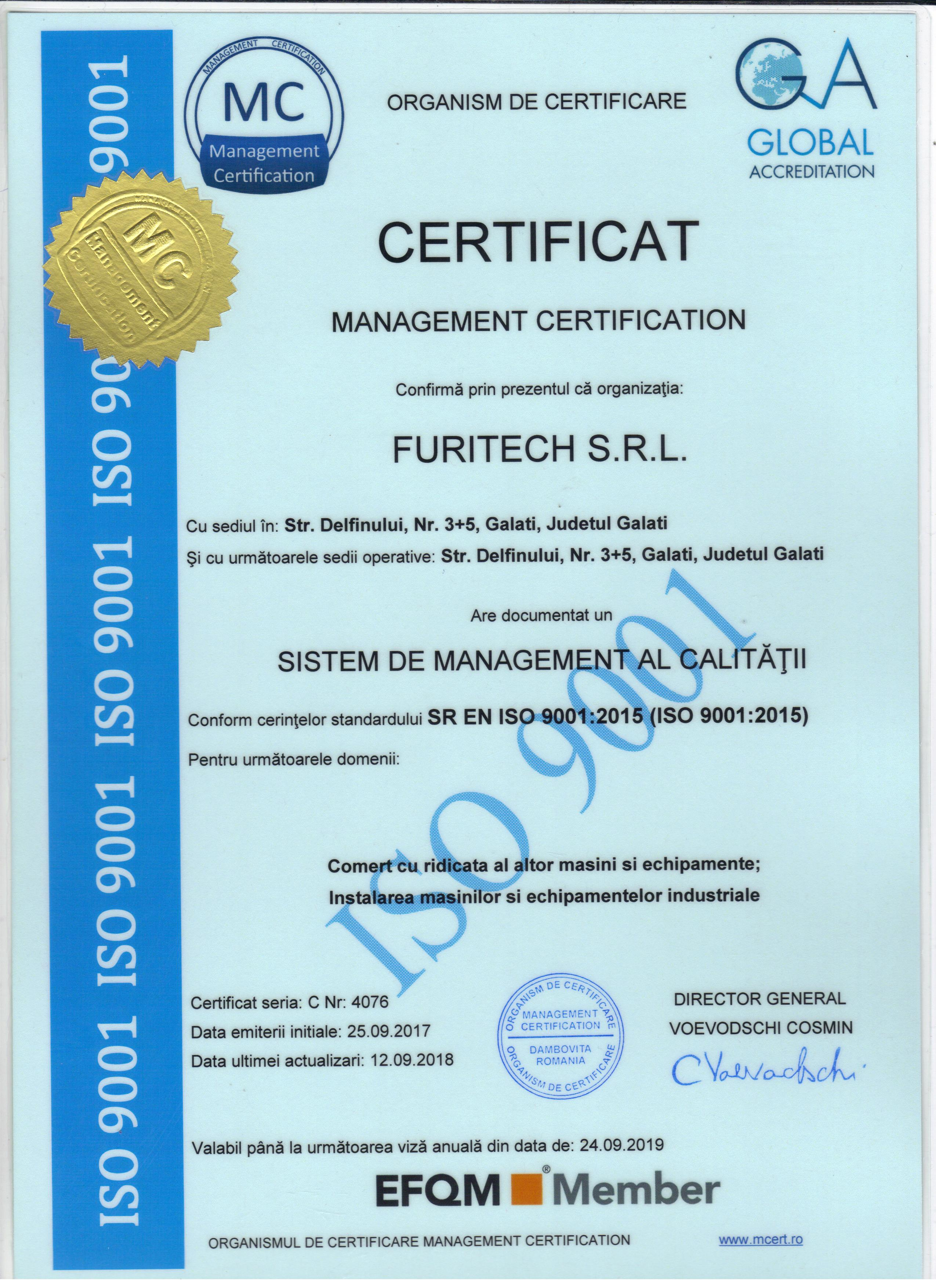 ISO 9001 FURITECH valabil pana in Septembrie 2019